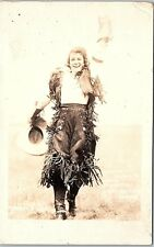 RPPC Mildred Douglas World Champion Bronco Buster Cowgirl Rodeo Real Photo