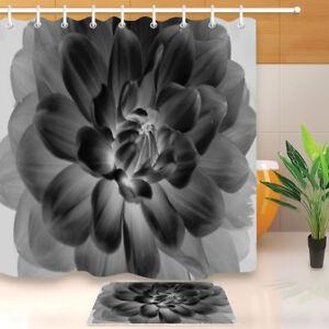 "Blooming Black and White Flower Shower Curtain Set Waterproof Fabric & Hooks 72"""