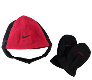 NIKE Polar Winter Fleece Hat and Mittens Set Unisex Infants 1-2 Years - Red