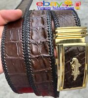 4cm - NO JOINTED Belt - Genuine Crocodile Skin Leather -FULL Skin- Boder Knit