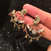 Earrings Ear Jacket Moon Star Tassel Cz Rainbow Gold Plated G9 D