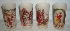 4 Dickens Charcter glasses from the 1940's by Federal glass
