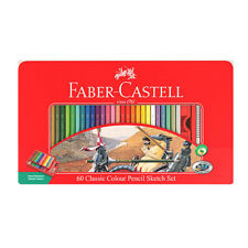 Faber-Castell 60 Classic Colour Pencil Sketch Set Tin Sharpener Eraser Drawing