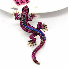 Betsey Johnson Vintage Crystal Rose&Blue Navy Gecko Wall Lizard Lady Brooch Pin
