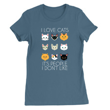 I Like Cats Womens T-Shirt Cat Lover All Cats Present Gift Funny