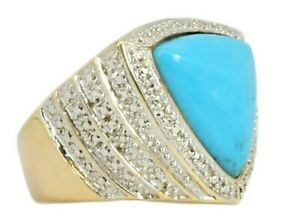 Ross Simons 14k Gold Clad Turquoise & Diamond Accent Sterling Cocktail Ring Sz 8