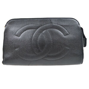 CHANEL CC Cosmetic Hand Bag Pouch Purse Black Caviar Skin Vintage 81234