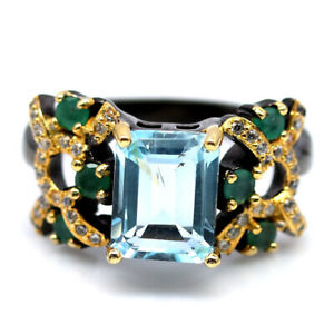 NATURAL 7 X 9 mm. SKY BLUE TOPAZ, EMERALD & CZ 925 SILVER TWO TONE RING SZ 8