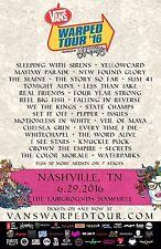 Vans Warped Tour 2016 Nashville Concert Poster: Sleeping With Sirens, Yellowcard