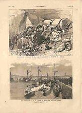 Exposition Corps de l'Amiral Courbet / Torpilleurs Boulogne-sur-Mer GRAVURE 1885