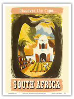 South Africa Cape Vineyard Vintage World Travel Art Poster Print