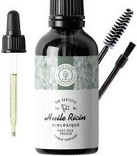 50ml Huile Ricin Bio Pure Soin 100% Naturel Cheveux Cils Barbe Sourcils Ongles