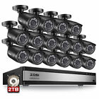 ZOSI 16CH H.265+ HDMI DVR 1080P Outdoor Home Surveillance Security Camera System