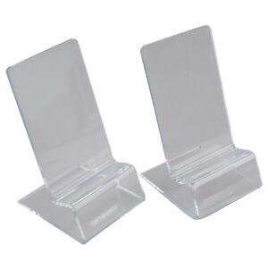 2pcs Clear Acrylic Display Stand Cell Phone Holder Desk Accessories Card Holder*