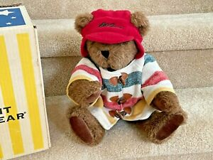 """Vermont Teddy Bear - classic 16"""", brown, with L L Bean coat and hat"""