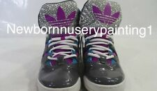 Adidas Mens 8 Purple Retro Leather High Top Basketball Shoes