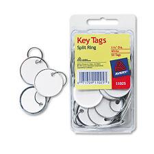 Avery Card Stock Metal Rim Key Tags 1 1/4 dia White 50/Pack 11025