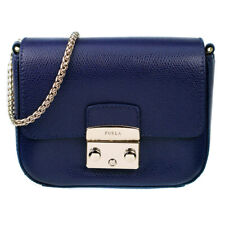 Furla Mini Metropolis Blue Leather Crossbody Bag