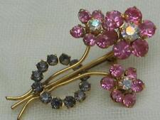Flowers/Plants Diamante Vintage Costume Jewellery (1980s)