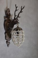 Lampe Cerf Applique Murale Mur Corne Cristaux Trophee Chasse Orignal Luminaire