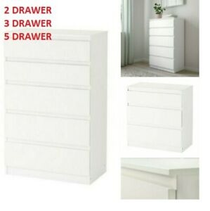IKEA 2 3 5 White CHEST OF DRAWERS Kullen Bed Side Room Furniture For All Rooms