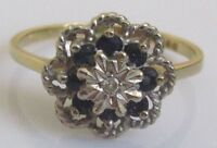 Vintage 18ct Yellow Gold Sapphire Diamond Round Cluster Ring Size M