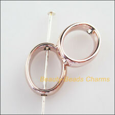 40Pcs Champagne Gold Acrylic Oval Spacer Beads Frame Charms 11.5x15mm