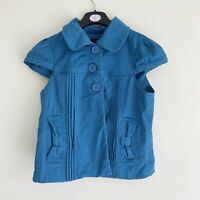 Women's Short Sleeved Blue Jacket Collared Buttons Size 10