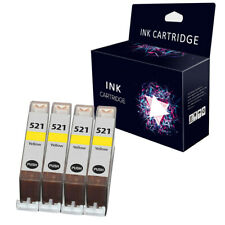 4 Yellow Ink Cartridges For Canon CLI-521 MP540 MP550 MP560 MP620 MP630 MP640