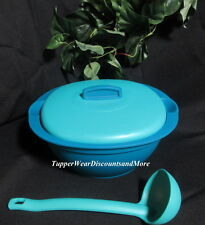 Tupperware New Legacy Covered Soup Tureen Serving Dish Bowl Ladle Blue