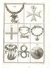 Incisione antica originale Collana dei Cavalieri di S. Michele in Francia 1711