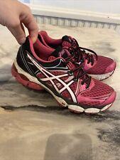 Para Mujeres Asics Zapatos Zapatillas Gel pulso 6 Rosa Negro Blanco EU 39.5 UK 6.5 correr
