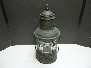Antique TRIPLEX Anchor Lantern with Fresnel Lens and Original Oil Lamp inside