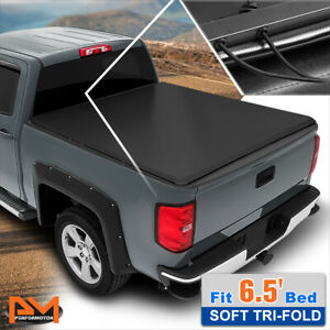 Vinyl Soft Top Tri-Fold Tonneau Cover for 04-14 Ford F150 Fleetside 6.5ft Bed