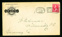 US 1898 Gem Shirt Company Stamped Advertising Cover Attractive Front & Back