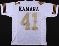 Alvin Kamara Signed White Jersey Gold Numbers - Autographed Beckett BAS