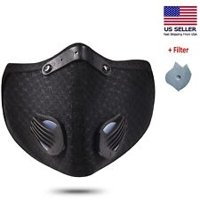 Activated Carbon Air Purifying Face Mask Cycling Reusable 2Filter Haze Valve USA