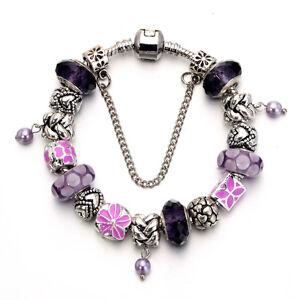 WOW NEW Silver Purple Pink Flower Enamel Murano Beads Charm European Bracelet