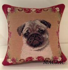 "Fawn Pug Dog Needlepoint Pillow 14""x14"" NWT"