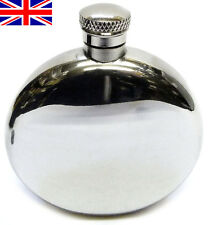 6oz Round Sheffield Pewter Hip Flask, Hand Made in England with Free Engraving