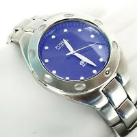 FOSSIL BLUE AM-3345 Stainless Steel Mens SilverTone Blue Dial WR 100m Wristwatch