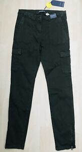 M&S Goodmove Size 12 Long Skinny Cargo Trousers Khaki Cotton Tencel Rich