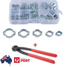 40Pcs Zinc Plated Double Ear O Clips Hose Tube Fuel Clamp 5 Size W/ Clamp Pliers