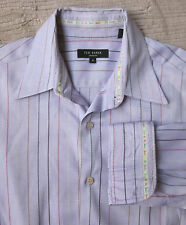 TED BAKER London Men's Lavender Strip Dress Shirt Size 4 US Medium