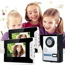 """Aluminium Alloy 2 Monitor 7"""" Video Door Phone Doorbell Intercom Night Vision"""