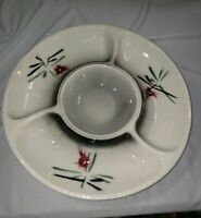 "Vintage Mid-Century Lane & Co #3060 12"" Divided Serving Dish black red green MCM"