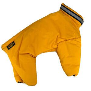 MUTTLUKS FOUR LEGGED NYLON DOG SNOWSUIT COAT SIZE 14 Yellow / Black Reflective
