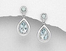 Dangle Earring Premium back3.4g Classic Sterling Silver 20mm Blue Topaz Teardrop