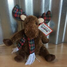 Douglas The Cuddle Toy Brown Moose With Plaid Scarf And Antlers