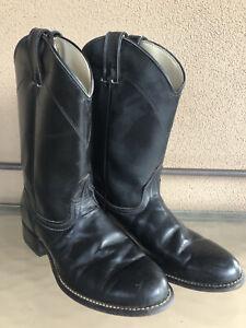 Women's Vintage Laredo Black Leather Western Cowboy Roper Boots Size 8M VG